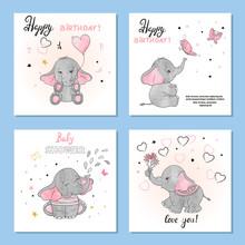 Cute Elephants Vector Illustra...