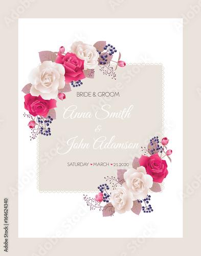 Wedding invitation cards with rosesautiful white and red roses wedding invitation cards with rosesautiful white and red roses wedding invitation thank stopboris Choice Image