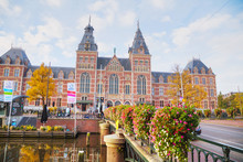 Rijksmuseum With People In Amsterdam, Netherlands