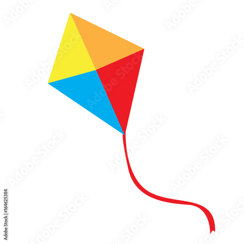 Isolated kite toy on a white background, Vector illustration Canvas Print