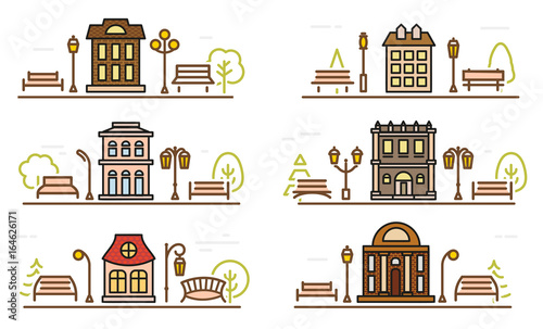 Cartoon drawing coloring facade and adjacent parks Wallpaper Mural