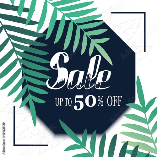 Sale banner, poster with palm leaves and handwriting lettering. Tropical summer background.  © anngirna