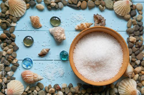 Fényképezés large frame with pebbles stones rocks seashells