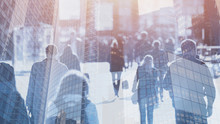 Crowd Of People Walking On The Street, Double Exposure Abstract Business Background