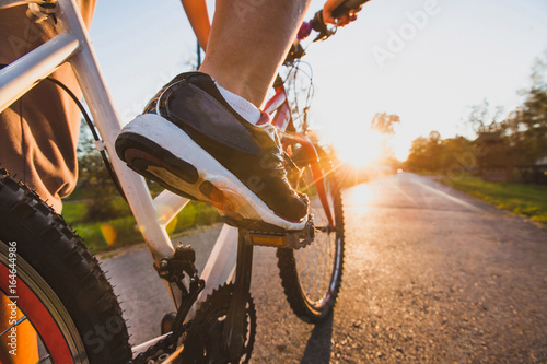 Printed kitchen splashbacks Cycling cycling outdoors, close up of the feet on pedal