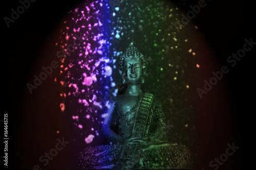 Stampe Imagen de Buda con polvo de colores