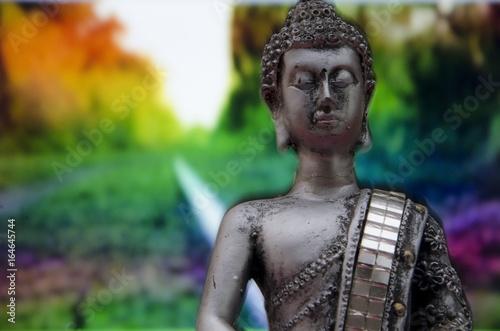 Stampe Imagen de Buda con fondo de vegetación de colores
