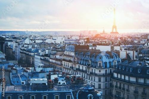Obraz na dibondzie (fotoboard) piękny panoramiczny widok w Paryżu o zachodzie słońca, Francja