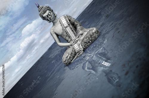 Stampa su Tela Buda con reflejo en el agua