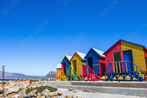 Poster Afrique du Sud colorful beach houses in Cape Town, South Africa