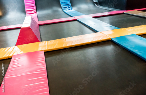 Valokuva  Interconnected trampolines for indoor jumping