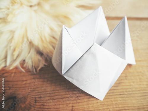 Fototapeta  Paper fortune teller with white feathers