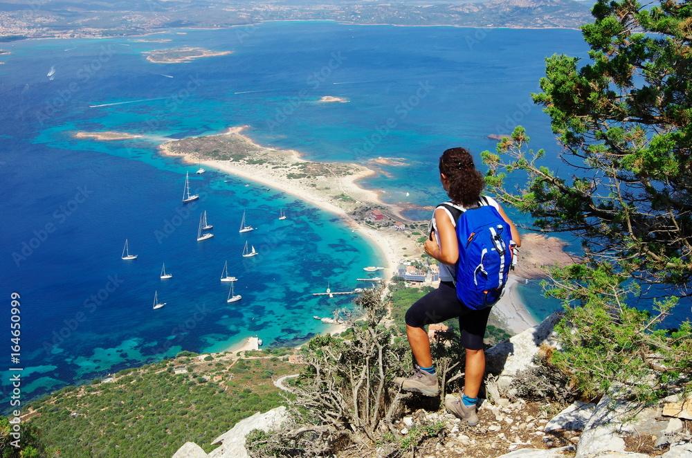 Fototapety, obrazy: Trekking in Sardinia: to the summit of Tavolara Island.