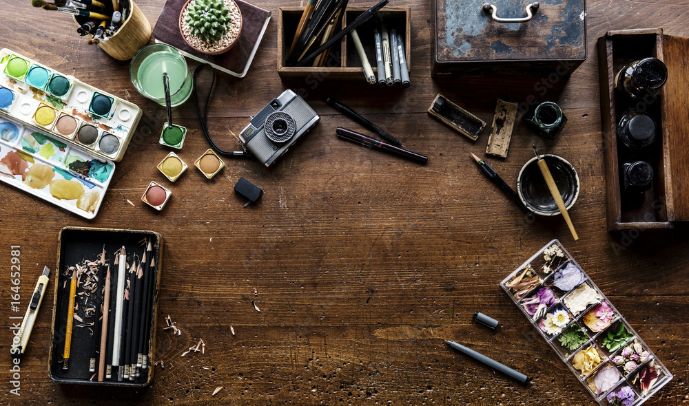 Fototapety, obrazy: Aerial view of artistic euqipments painting tools on wooden table