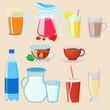 Drinks cartoon set vector illustration