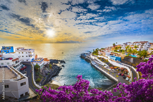Spoed Foto op Canvas Canarische Eilanden Sunrise in Puerto de Santiago city, Tenerife, Canary island, Spain
