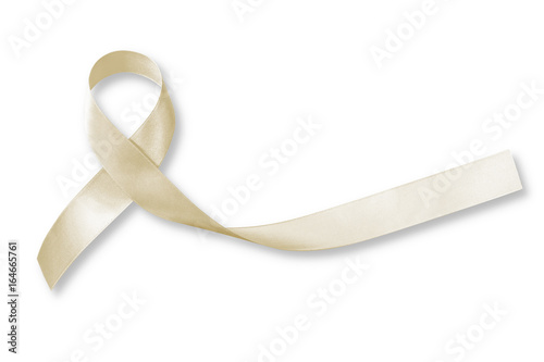 Photo Cream awareness ribbon isolated on white background (clipping path) symbolic bow