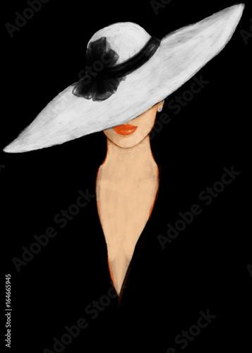 Canvas Prints Watercolor Face Elegant lady. Fashion illustration