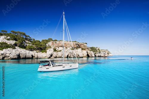 Beautiful bay with sailing boats, Mediterranean sea