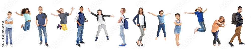Fototapety, obrazy: Schoolchildren of different ages on white background