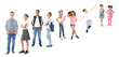 canvas print picture - Schoolchildren of different ages on white background