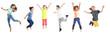 Leinwandbild Motiv Collage of jumping schoolchildren on white background