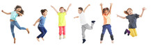 Collage Of Jumping Schoolchild...