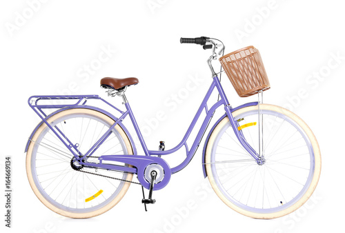Türaufkleber Fahrrad Modern bicycle with basket on white background