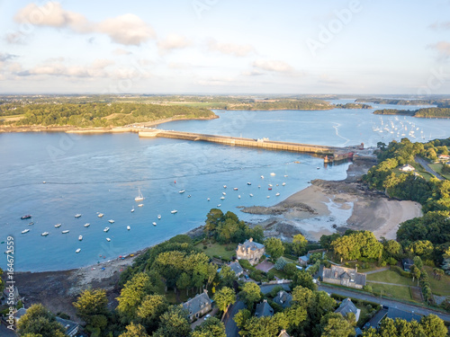 Aerial view on Barrage de la Rance in Brittany close to Saint Malo, Tidal energy Canvas-taulu
