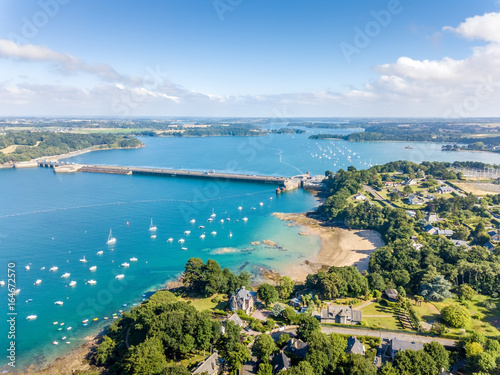 Fotografia, Obraz  Aerial view on Barrage de la Rance in Brittany close to Saint Malo, Tidal energy