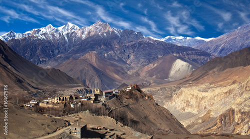 Panorama of Jarkot village in Mustang on Annapurna Circuit trek, Nepal, Himalaya Canvas Print