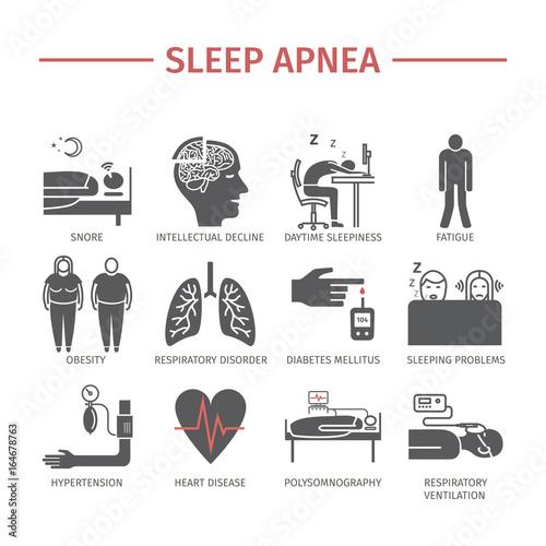 Photo Sleep Apnea icons set. Vector signs.