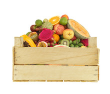 Fruits In Wooden Crate Isolated