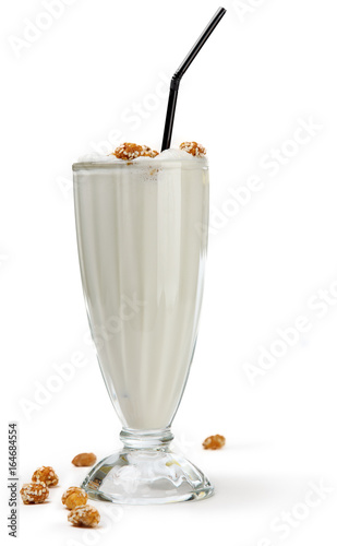 milkshake in glass goblet