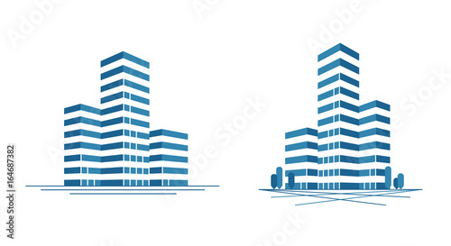 Slika na platnu Modern city, skyscraper logo