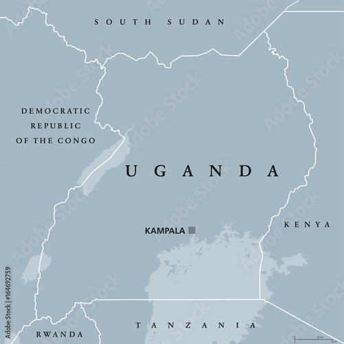 Lake Victoria On Map Of Africa.Uganda Political Map With Capital Kampala Republic In East Africa