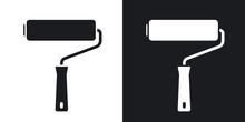 Vector Paint Roller Icon. Two-tone Version On Black And White Background