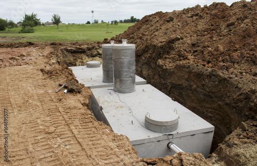 Fotografia  Concrete septic holding tanks