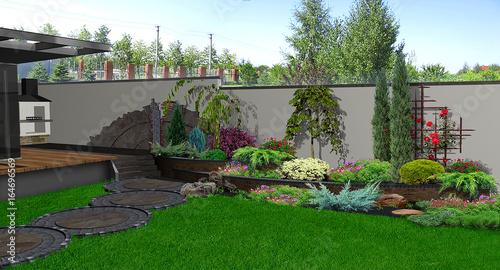 Poster Gris Backyard horticultural background, 3d render