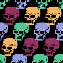 Skull Cartoon Seamless Pattern. Skeleton Head Drawing Ornament. Medicine Background. Retro Vintage Texture
