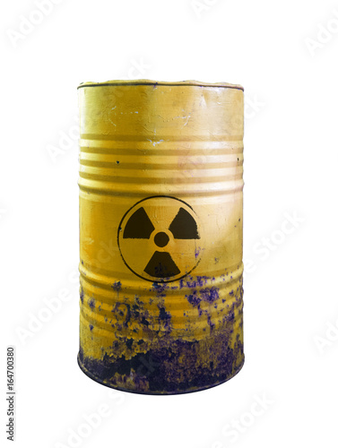 Fotografie, Obraz  Yellow barrel of toxic waste isolated