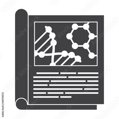 Fotografia  Scientific journal, vector black silhouette on white background
