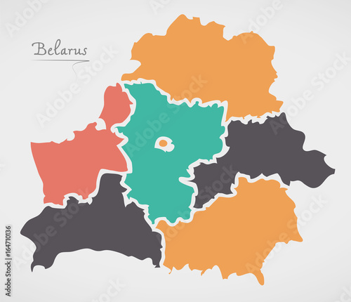 Fotografie, Obraz Belarus Map with states and modern round shapes