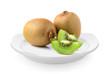 kiwi fruit in plate on white background