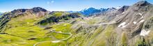 Stelvio National Park - Passo Dello Stelvio 2757 Mt. - Vista Aerea Panoramica Con Il Ghiacciaio Dell'Ortles Sul Fondo