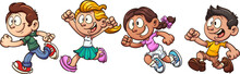 Cartoon Kids Running. Vector C...
