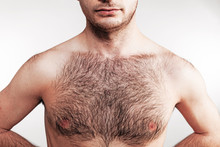 Boy With Naked Hairy Chest On White Background
