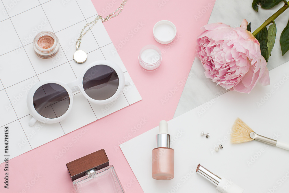 Fototapety, obrazy: Beauty flat lay with cosmetic bottles, phone and flower. Top view