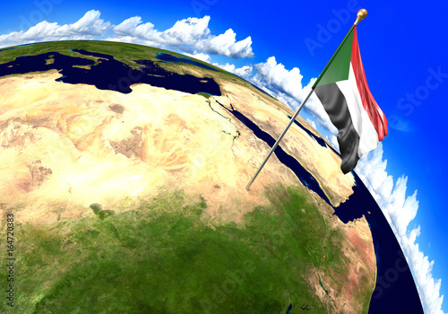 Sudan national flag marking the country location on world map. 3D ...