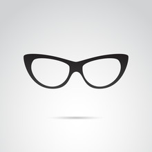 Cat Eye Glasses Vector Icon.